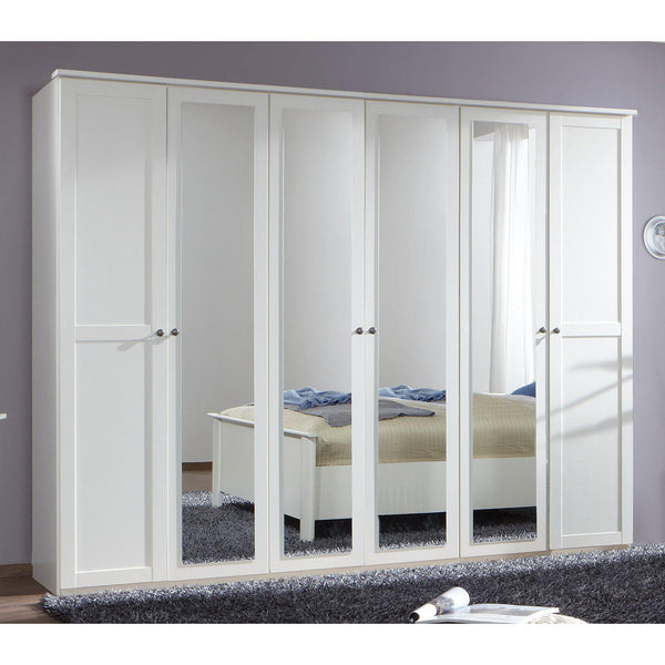 Harmony 6 Doors 4 Mirrors White Wardrobe-Wardrobe-Modern Furniture Deals