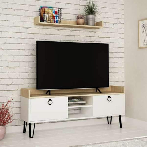 Hills Tv Cabinet-White-Oak-Modern Furniture Deals