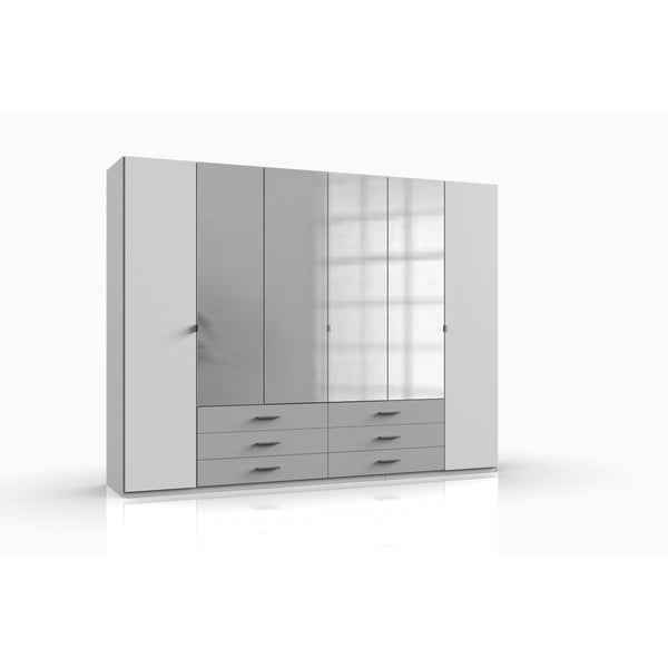 JOPE 6 Doors 6 Drawers Mirrored Wardrobe White Grey-Wardrobe-Modern Furniture Deals