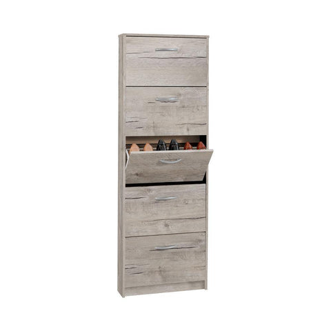 Kendale 5 Tier Shoe Storage Cabinet White, Oak-Sand Oak-Modern Furniture Deals