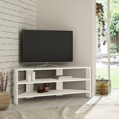 Khorn Corner Tv Stand-White-Modern Furniture Deals