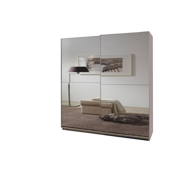 KRO White Mirrored Sliding Door Wardrobe 135cm-Modern Furniture Deals