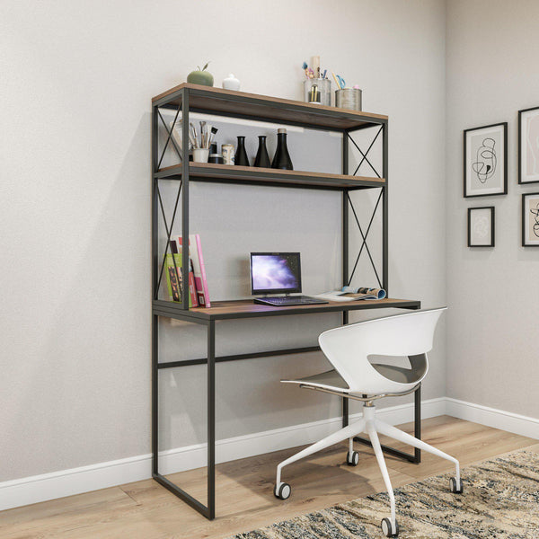 KRON Industrial Desk With Bookcase Rustic Metal-Oak-Desk-[sale]-[design]-[modern]-Modern Furniture Deals