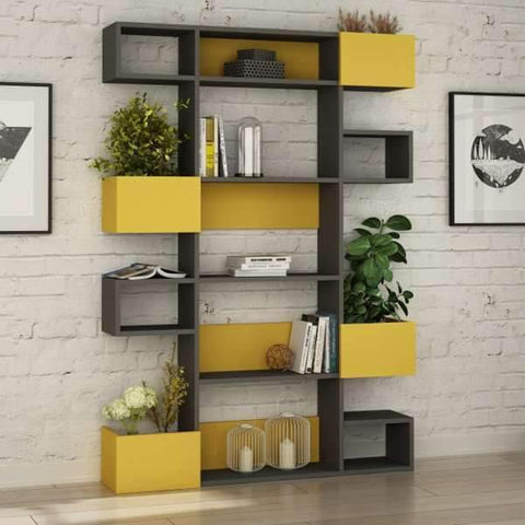 Loco Bookcase-Grey-Mustard-Modern Furniture Deals