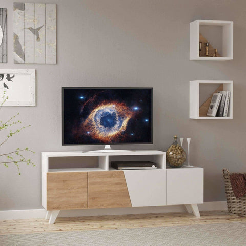 Loma Tv Cabinet-White-Mocha-Modern Furniture Deals