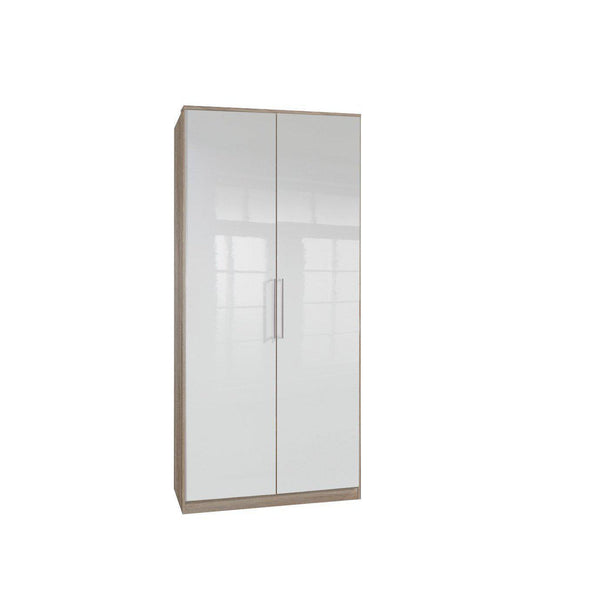 LORIN GLOSS 2 Door Wardrobe Oak, White-Modern Furniture Deals