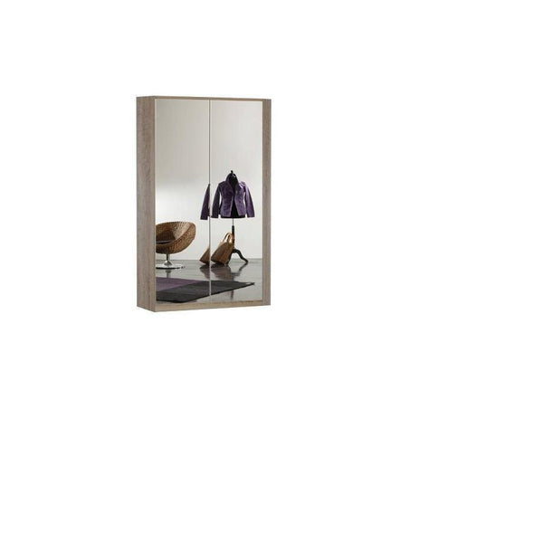 LORIN Oak Mirrored Corner Wardrobe-Modern Furniture Deals