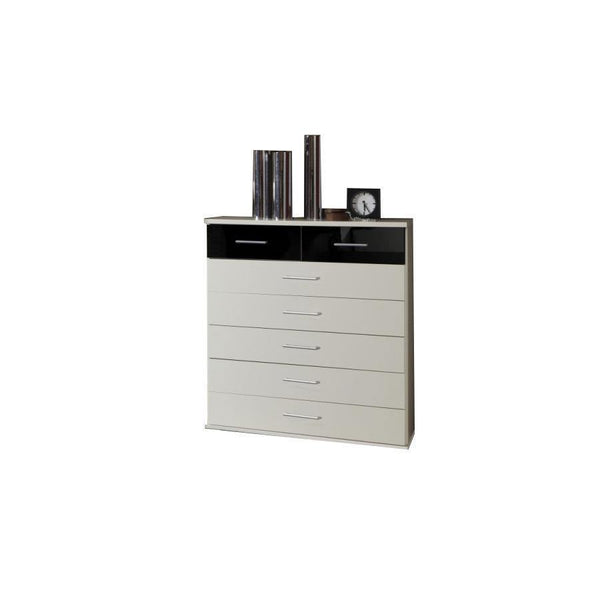 LORIN White And Black Gloss 5+2 Chest-Modern Furniture Deals