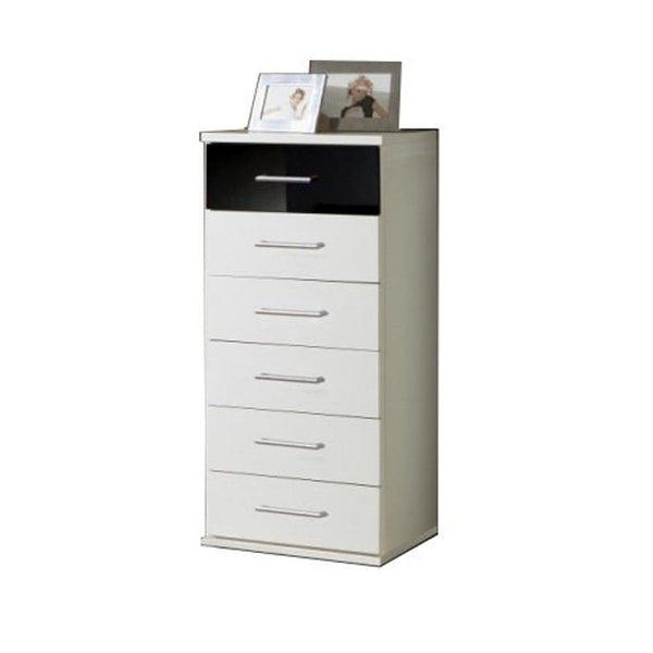 LORIN White And Black Narrow 6 Drawer Chest-Modern Furniture Deals