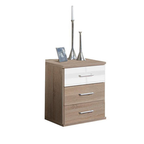 LORIN White And Oak 3 Drawer Chest-Modern Furniture Deals