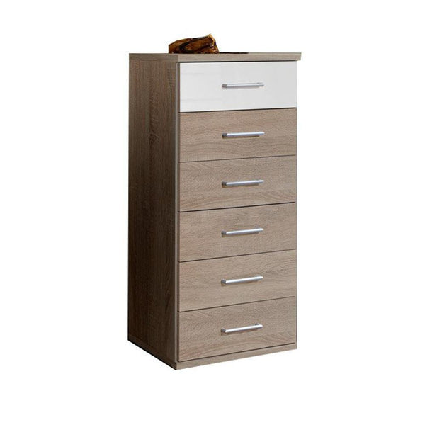 LORIN White And Oak Narrow 6 Drawer Chest-Modern Furniture Deals