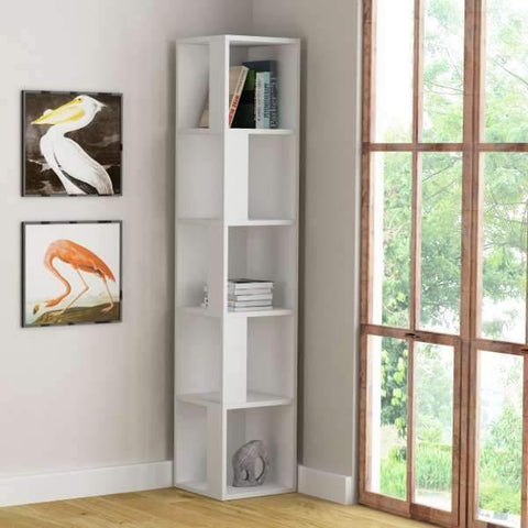 Lucky Corner Bookcase-White-Modern Furniture Deals