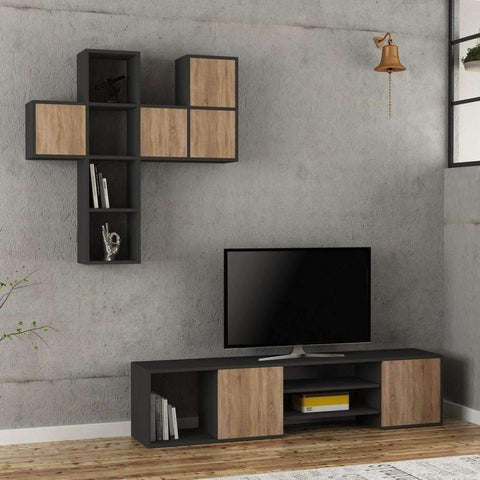 Maxy Tv Stand-Grey-Oak-Modern Furniture Deals