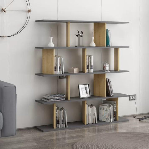 MERCURY Bookcase Anthracite - Oak-FURNITURE>BOOKCASES-[sale]-[design]-[modern]-Modern Furniture Deals