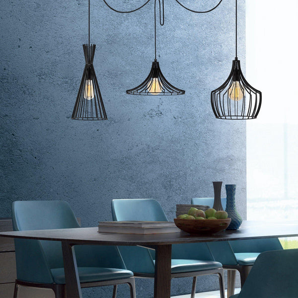 MUJU WIRE Metal Pendulum 3 Ceiling Light Black-Modern Furniture Deals