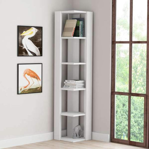 Naty Corner Bookcase-White-Modern Furniture Deals