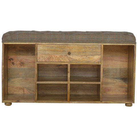 One Drawer Shoe Rack, Tweed Bench-Modern Furniture Deals