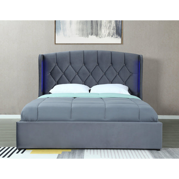 ORCHID Luxury Storage Ottoman Bed King Size Grey with LED lights-Bed-Modern Furniture Deals