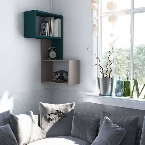 Party Corner Shelf-Mocha-Turquoise-Modern Furniture Deals