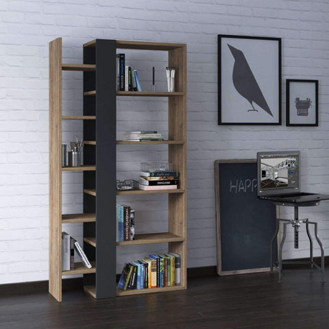 Penta Bookshelf-Dark Oak-Grey-Modern Furniture Deals
