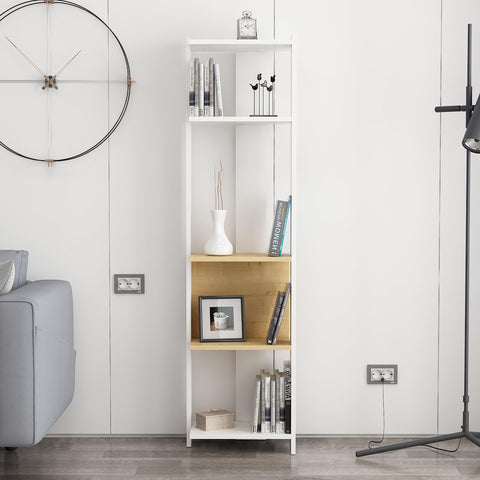 PRIMA Narrow Bookcase White-Oak-FURNITURE>BOOKCASES-[sale]-[design]-[modern]-Modern Furniture Deals