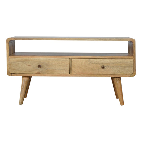 Curved Oak Media Unit