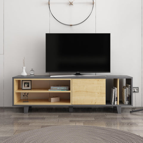Rosi Tv Unit Anthracite - Oak-FURNITURE>TV STANDS>TV STAND-[sale]-[design]-[modern]-Modern Furniture Deals