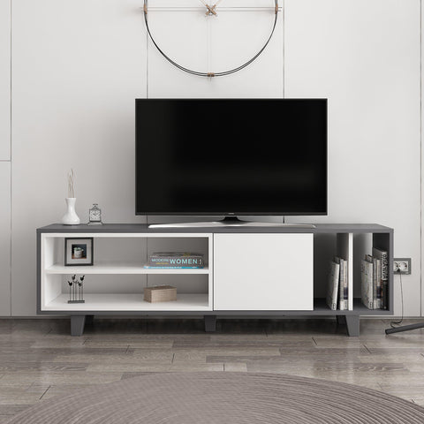 Rosi Tv Unit Anthracite - White-FURNITURE>TV STANDS>TV STAND-[sale]-[design]-[modern]-Modern Furniture Deals