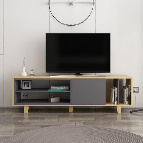 Rosi Tv Unit Oak - Anthracite-FURNITURE>TV STANDS>TV STAND-[sale]-[design]-[modern]-Modern Furniture Deals