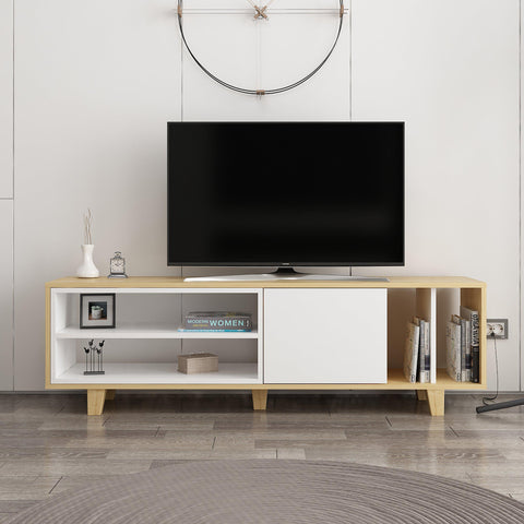 Rosi Tv Unit Oak - White-FURNITURE>TV STANDS>TV STAND-[sale]-[design]-[modern]-Modern Furniture Deals