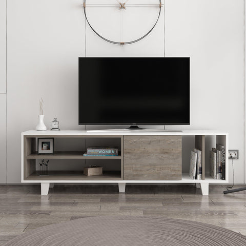 Rosi Tv Unit White - Dark Coffee-FURNITURE>TV STANDS>TV STAND-[sale]-[design]-[modern]-Modern Furniture Deals
