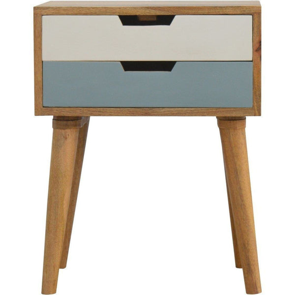 Scandinavian 2 Drawer Bedside Blue-Modern Furniture Deals