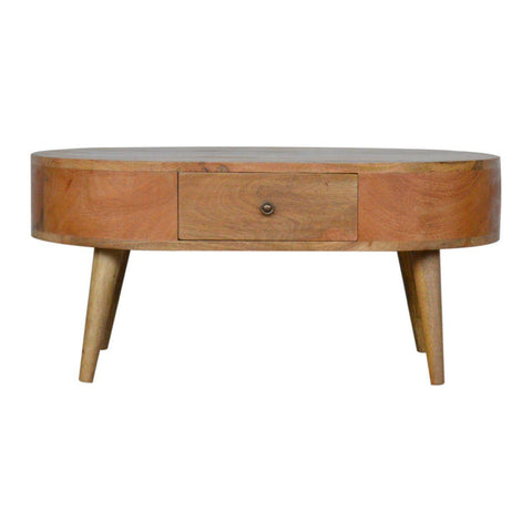 Scandinavian 2 Drawer Ellipse Coffee Table-Coffee Table-Modern Furniture Deals