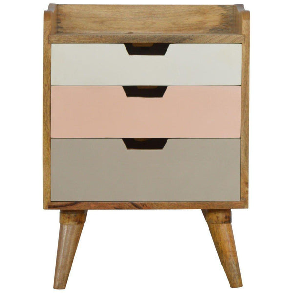 Scandinavian 3 Drawer Bedside Pink-Modern Furniture Deals