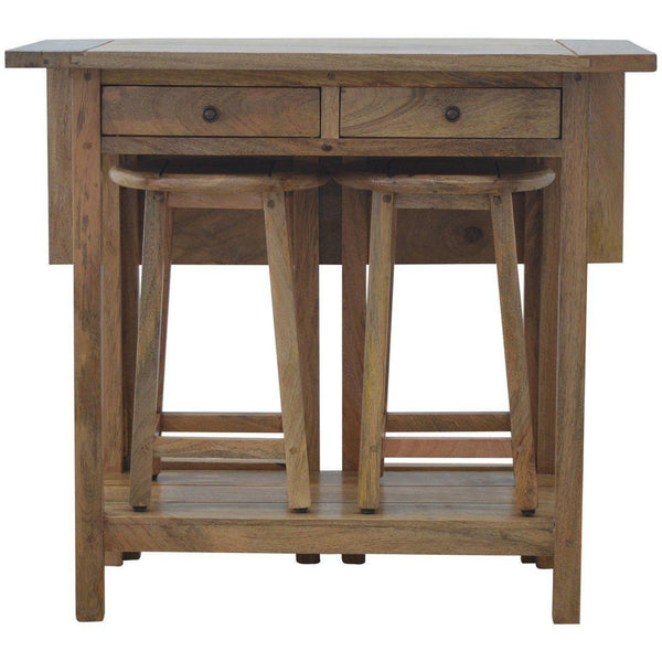 Solid Wood Breakfast Table With 2 Stools-Modern Furniture Deals