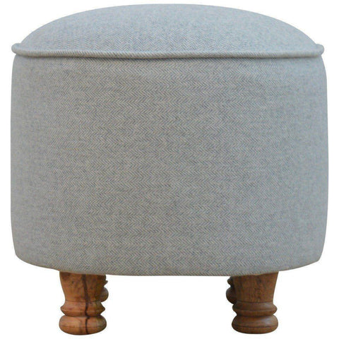 Solid Wood Grey Oval Stool-Modern Furniture Deals
