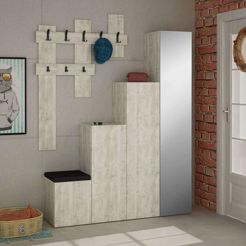 Step Shoe Cabinet, Coat Rack-White-Modern Furniture Deals