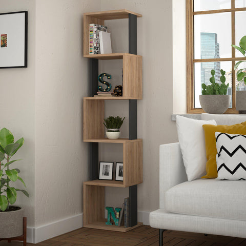 Talia Corner Bookcase-S.Oak-A.Grey-Modern Furniture Deals