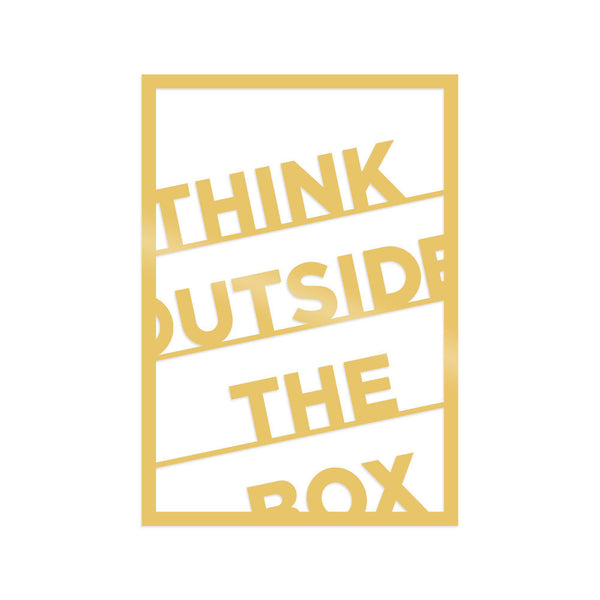 THINK OUTSIDE THE BOX - GOLD Wall Art-Metal Wall Art-[sale]-[design]-[modern]-Modern Furniture Deals