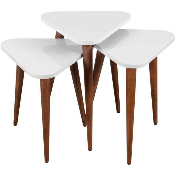 Trio 3 Piece Nesting Tables-White-Modern Furniture Deals