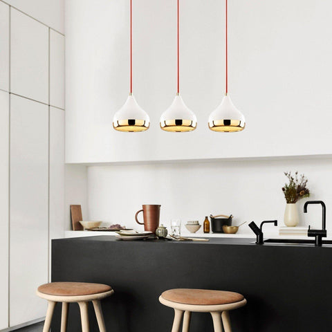 TRIO Gold Pendant 3 Ceiling Light, White, Red-Modern Furniture Deals
