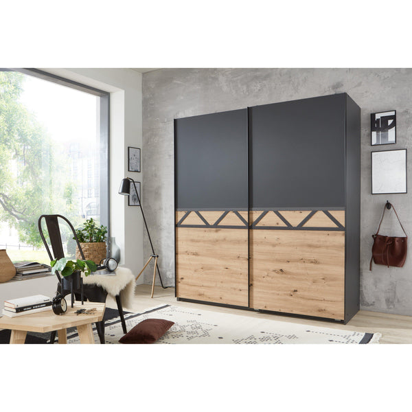 TROY Luxury 180cm Sliding Door Wardrobe Graphite, Oak-wardrobe-Modern Furniture Deals