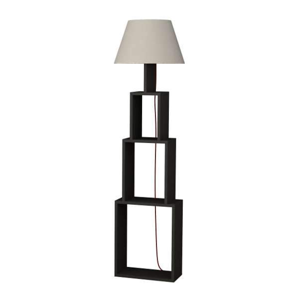 Unique Floor Lamp/Bookshelf-Grey-Linen-Modern Furniture Deals