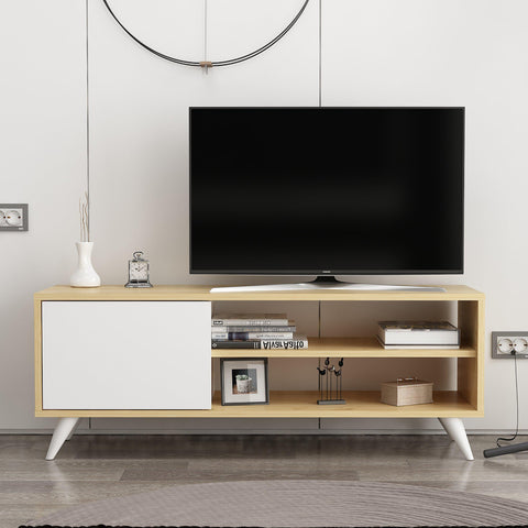Vega Tv Unit Oak - White-FURNITURE>TV STANDS>TV STAND-[sale]-[design]-[modern]-Modern Furniture Deals