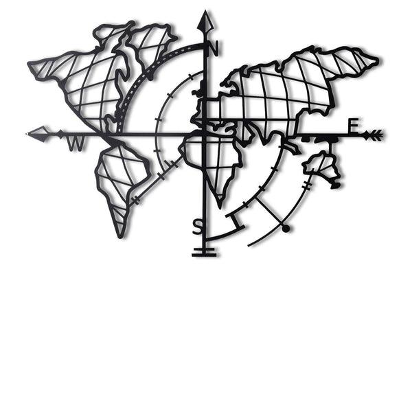 WORLD MAP COMPASS - BLACK Wall Art-Metal Wall Art-[sale]-[design]-[modern]-Modern Furniture Deals
