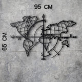 WORLD MAP COMPASS LED - BLACK Wall Art-Metal Wall Art-[sale]-[design]-[modern]-Modern Furniture Deals