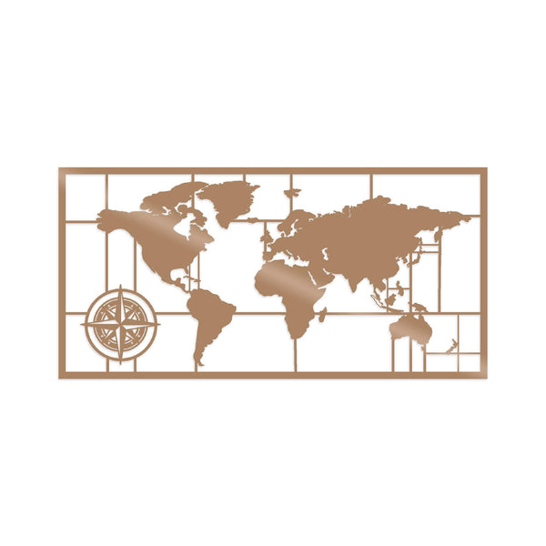 WORLD MAP METAL DECOR 7 - COPPER Wall Art-Metal Wall Art-[sale]-[design]-[modern]-Modern Furniture Deals