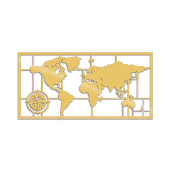 WORLD MAP METAL DECOR 7 - GOLD Wall Art-Metal Wall Art-[sale]-[design]-[modern]-Modern Furniture Deals