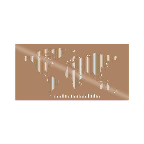 WORLD MAP METAL DECOR 8 - COPPER Wall Art-Metal Wall Art-[sale]-[design]-[modern]-Modern Furniture Deals