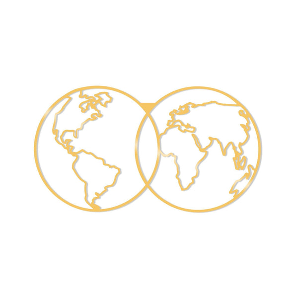 WORLD MAP METAL DECOR - GOLD Wall Art-Metal Wall Art-[sale]-[design]-[modern]-Modern Furniture Deals